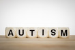 Term Autism spelled out with toy dice