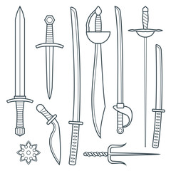 vector dark gray outline cold medieval weapons set with sword