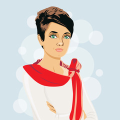 Female character. Vector illustration.