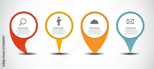 Set of Circle Pointers Infographic Business Element. Vector Illu - 76386427