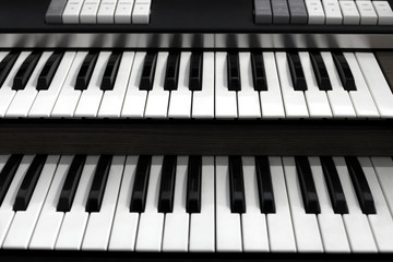 Top view of a church organ keyboard
