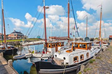 Summer view of the Dutch Hindeloopen harbor