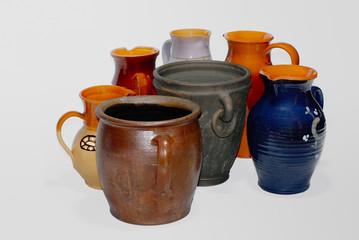 Seven clay pots