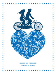 Vector blue white lineart plants couple on tandem bicycle heart