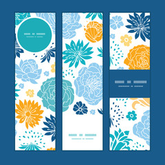 Vector blue and yellow flowersilhouettes vertical banners set