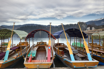 Traditional wooden boats (Pletna) on lake Bled, Slovenia