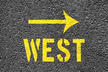 West arrow sign