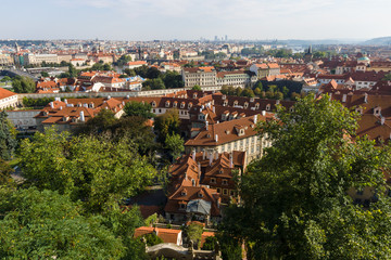 View of the old city from the Lesser Town. Prague.