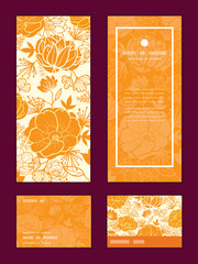 Vector golden art flowers vertical frame pattern invitation