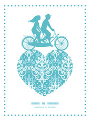 Vector light blue swirls damask couple on tandem bicycle heart