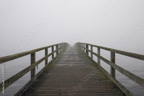 canvas print picture Steg im Nebel