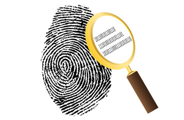 fingerprint with magnifying glass and binary code security