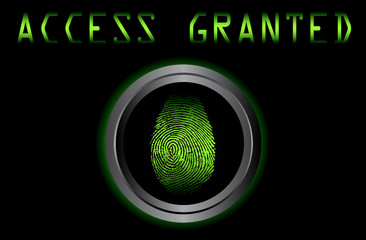 fingerprint on scanner access granted vector illustration