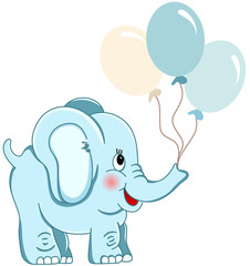 Cute blue elephant holding balloons