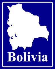 silhouette map of Bolivia
