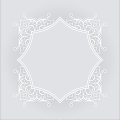 Filigree vector white frame on gray