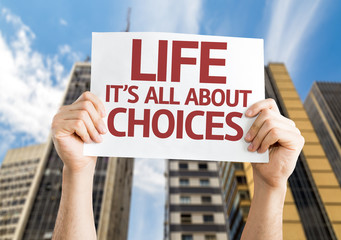 Life is All About Choices card with a skyscraper background