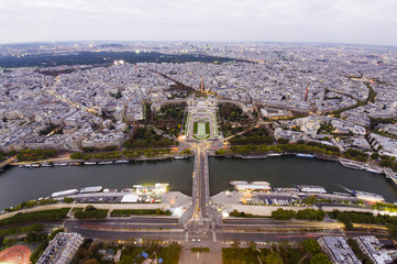 Paris city seen from top of Eiffel Tower