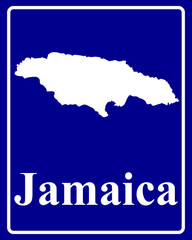silhouette map of Jamaica