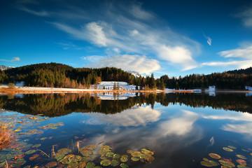 sunset over alpine lake Geroldsee