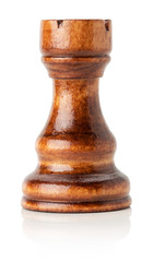 black wooden chess rook on the white background