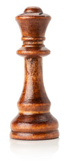 black wooden chess queen on the white background
