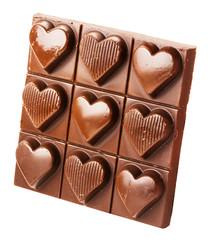 chocolate with hearts isolated on the white background