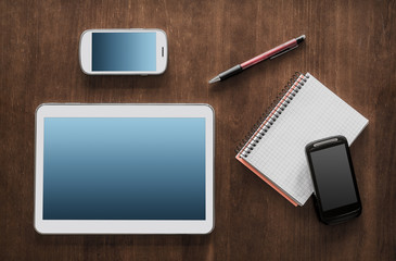 Business Work With Tablet, 2 Smartphones And Notepad