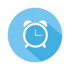 Icono reloj despertador azul botón sombra