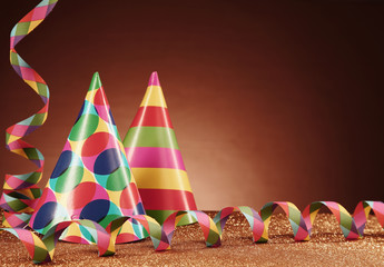 Party Hats with Different Designs and Streamers