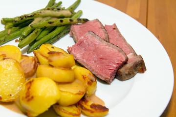 Roastbeef / Steak mit Bratkartoffeln und Bohnen