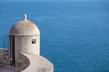 Gun turret on old city walls of Dubrovnik (Croatia)