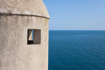 Gun turret on old city walls of Dubrovnik