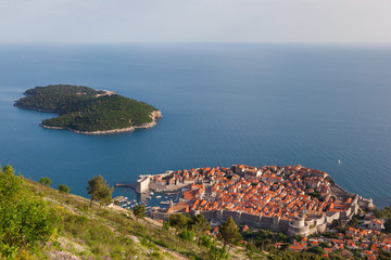 Beautiful aerial view of Dubrovnik's old town and Lokrum island.