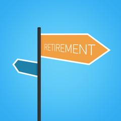 Retirement nearby, orange road sign