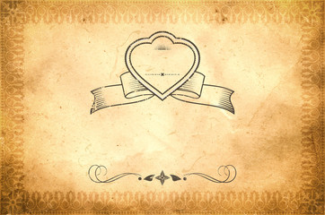 Grunge paper background with decorative ornamental border.