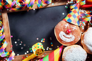Black Board with Carnival Donuts and Props