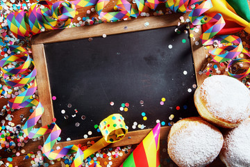 Black Board with Donuts and Carnival Props