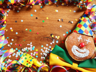 Wooden Table with Colorful Carnival Items
