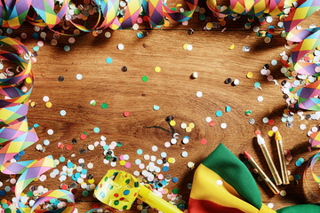 Wooden Table with Festival Props