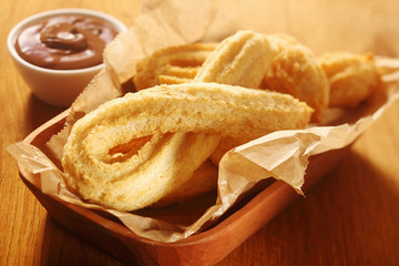 Churros Snacks on Tray with Chocolate Dip
