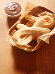 Delicious Churros Snacks and Chocolate Dip