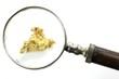 Goldnugget unter Lupe isoliert auf weißem Hintergrund - 76391845
