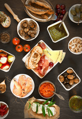 Wide Variety Tapas on Brown Table