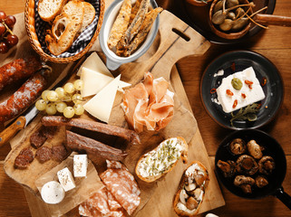 Close up Assorted Mouth Watering Tapas on Table