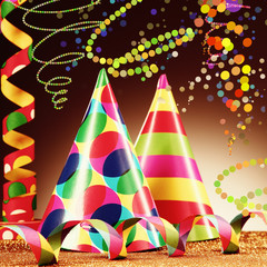 Attractive Party Hats and Paper Streamers