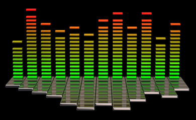 Illustration of graphic equalizer on black background