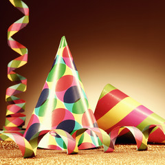 Cone Hats and Streamers on Platform with Particles