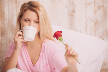 Romantic morning with coffee in bed