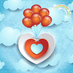 Valentine background with hearts and balloons